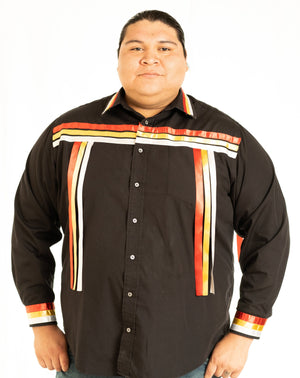Fire-Color Black Long-Sleeve Ribbon Shirt Ribbon Shirt four Corners, four directions, Indian, Indigenous, indigenous unity, Native, oit, Our, Powwow, ribbon shirt, Traditions - Our Indigenous