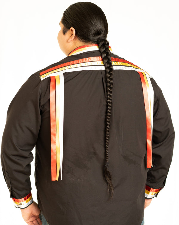 Fire-Color Black Long-Sleeve Ribbon Shirt - Our Indigenous Traditions