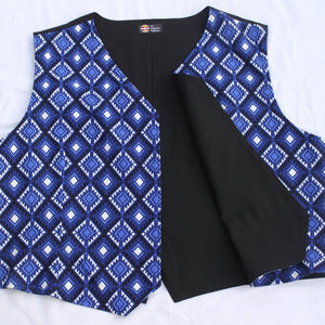 Blue/White Diamond Vest Vest Aboriginal, American Indian, clothing, comfortable, Cotton, diamond, Fashion, handcrafted, handmade, Indian, Indigenous, indigenous unity, indigneous, light, Nati