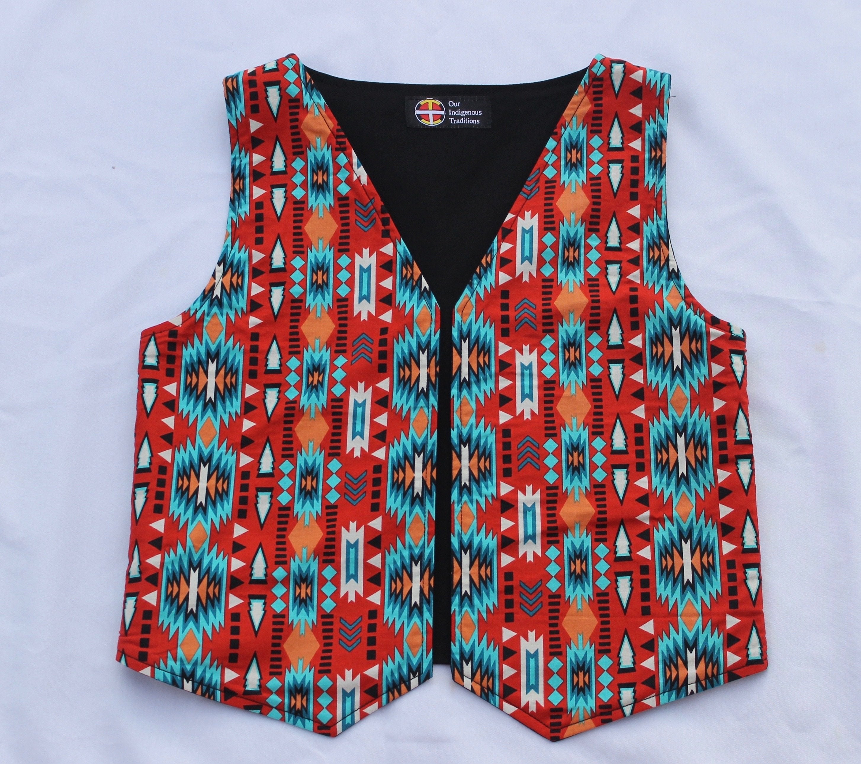 Orange/Turquoise Vest - Our Indigenous Traditions