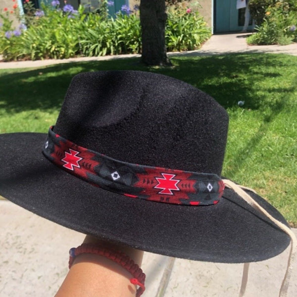 Hat Band w/leather Hat Tie Aboriginal, accessories, cowboy, Fashion, hat, hat tie, Indian, Indigenous, Native, oit, Our, Powwow, rodeo, Traditions - Our Indigenous Traditions Clothing Brand