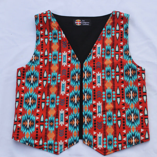 Youth Orange/Turquoise Vest Vest Aboriginal, Indigenous, native, our, traditions, vest - Our Indigenous Traditions Clothing Brand