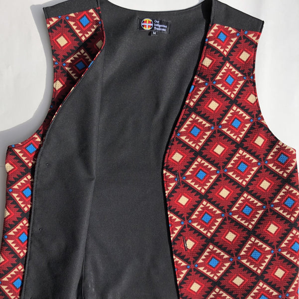 Men's Red Tribal Pattern Vest - Our Indigenous Traditions