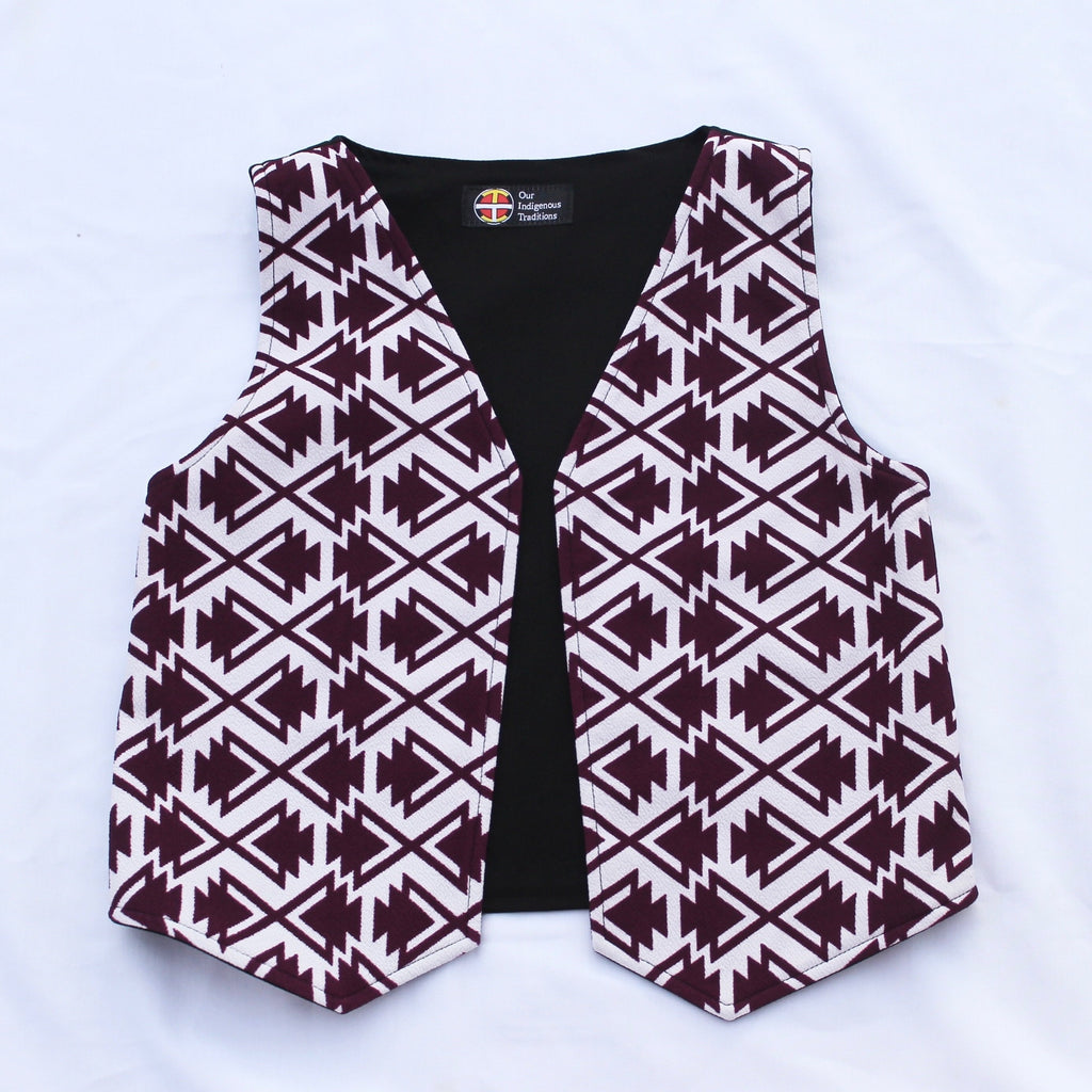 White/Burgundy Arrow Vest - Our Indigenous Traditions