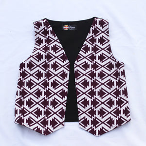 White/Burgundy Arrow Vest Youth vest Aboriginal, American Indian, clothing, comfort, comfortable, Cotton, handcrafted, handmade, Indian, Indigenous, Native, native american, native handmade,