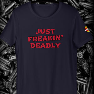 """Just Freakin' Deadly"" Tee Tee Aboriginal, america, american, American Indian, business, canada, clothing, clothing line, Cotton, deadly, Fashion, Indian, indigenous, logo, Men, Mens, N"