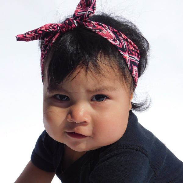 OIT Baby Pink/Black Knot Headband Kids & Babies accessories, baby, baby headband, comfortable, comfy, Fashion, girls, handcrafted, handmade, head, Headband, Indian, Indigenous, indigenous uni