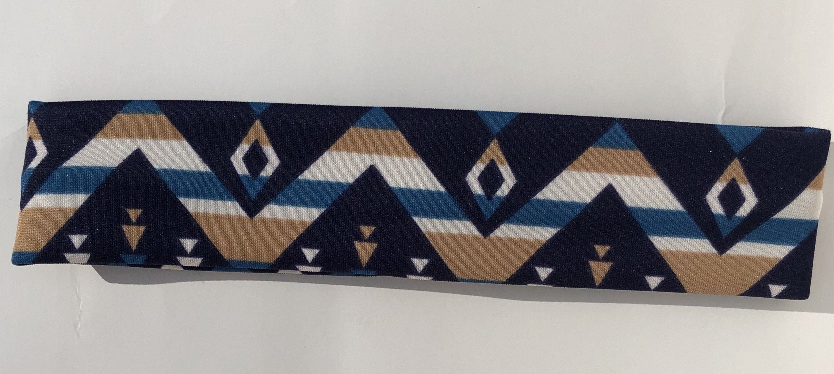 Blue and Tan Headband Headband accessories, black, clothing, comfort, Cotton, Fall, Fashion, fit, fitness, hand wash, head, Headband, Indian, Indigenous, indigenous unity, Men, Mens, Native,