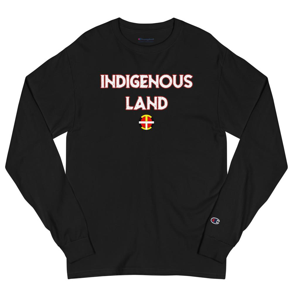 """Indigenous Land"" Men's Champion Long Sleeve Tee - Our Indigenous Traditions"