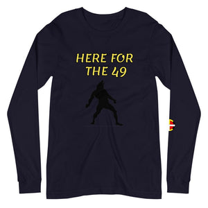 """Here For The 49"" Long Sleeve Tee Long Sleeve 49, clothing, drum, indigenous, native, night, oit, sing, tribe, unisex, wolf - Our Indigenous Traditions Clothing Brand"