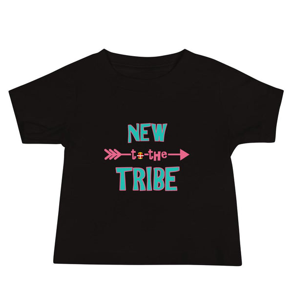"""New to the Tribe"" Baby Short Sleeve Tee Kids & Babies american, baby, clothing, Cotton, fabric, Fashion, Indian, Indigenous, Native, oit, Our, Powwow, toddler, Traditions - Our Indigenous Tr"