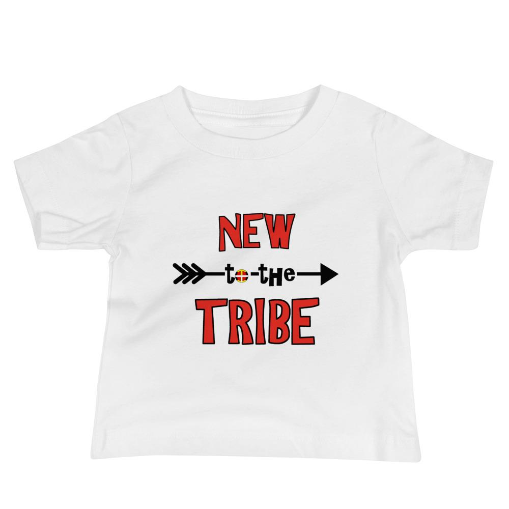 """New to the Tribe"" Red Baby Short Sleeve Tee Kids & Babies american, baby, clothing, cotton, fabric, indian, native, oit, our, toddler, traditions, tribe - Our Indigenous Traditions Clothing"