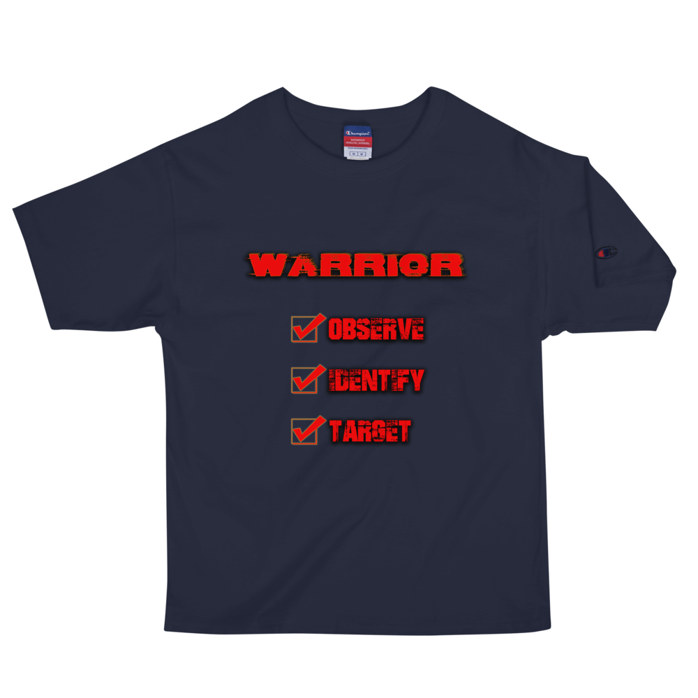 """Observe, Identify, Target"" Champion Tee Champion Tee Aboriginal, america, american, champion, comfort, comfortable, Cotton, Fall, Fashion, fit, fitness, Indian, Indigenous, indigneous, M"