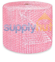 "Anti-Static Pink Bubble Roll Padding Ship 1/2"" Thick x 24"" Wide Perf 12"" Large Bubbles"