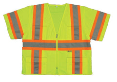 Class 3 Safety Vest High Visibility Reflective Stripes ANSI Neon Yellow