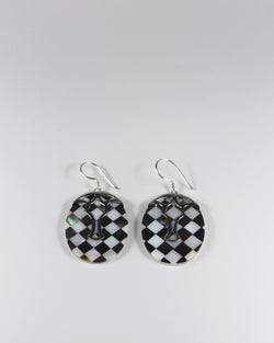 Silver Check Shell Ellipse Earring