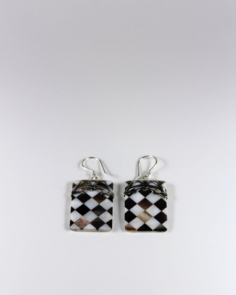 Silver Check Shell Square Earring