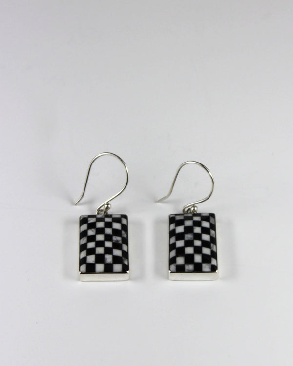 Silver Flag check Earring