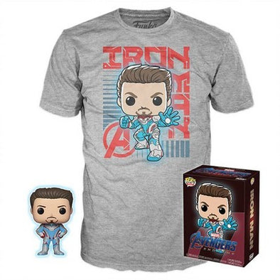 Pop Tees - Marvel Avengers Endgame Iron Man Glow-In-The-Dark Exclusive Pop! with Tee