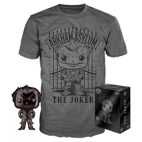 POP Tees - Batman: Arkham Asylum Black Chrome Joker Pop with Tee Exclusive