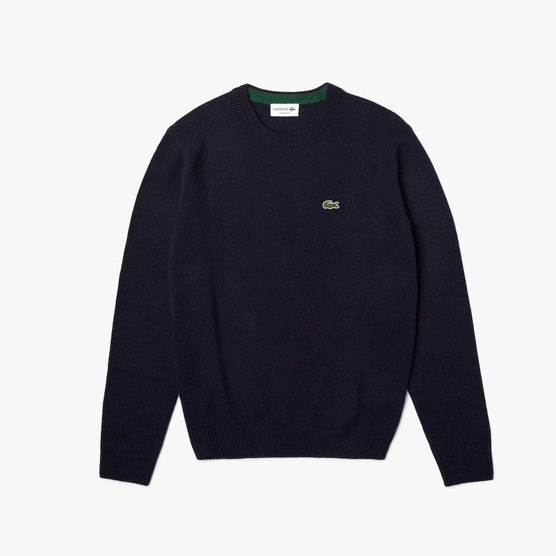 Crew Neck Wool Sweater Navy