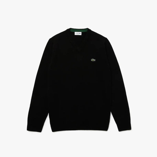 V-Neck Wool Sweater  Black