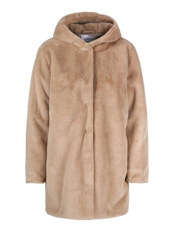 CHLOE HOOD FAKE FUR JACKET BEIGE