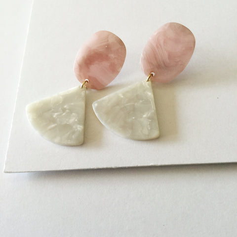 Mini Zelda Earrings: White, Pink