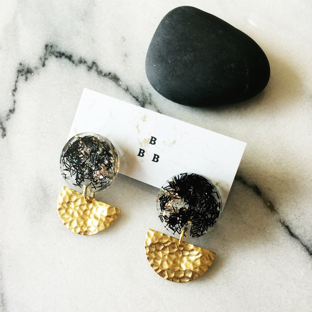 Soft Pop Earrings: Black + Gold Confetti