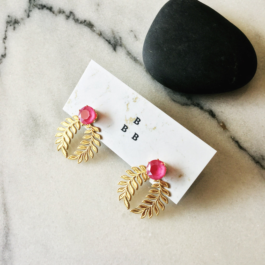Floral Ear Shields: Bright Pink
