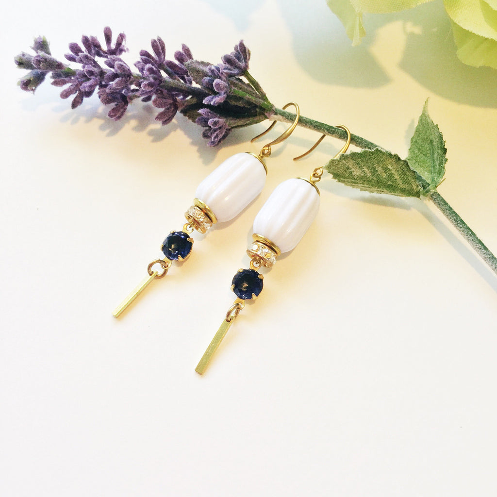 Anika Drops: Navy Set Glass Stones & Crystal