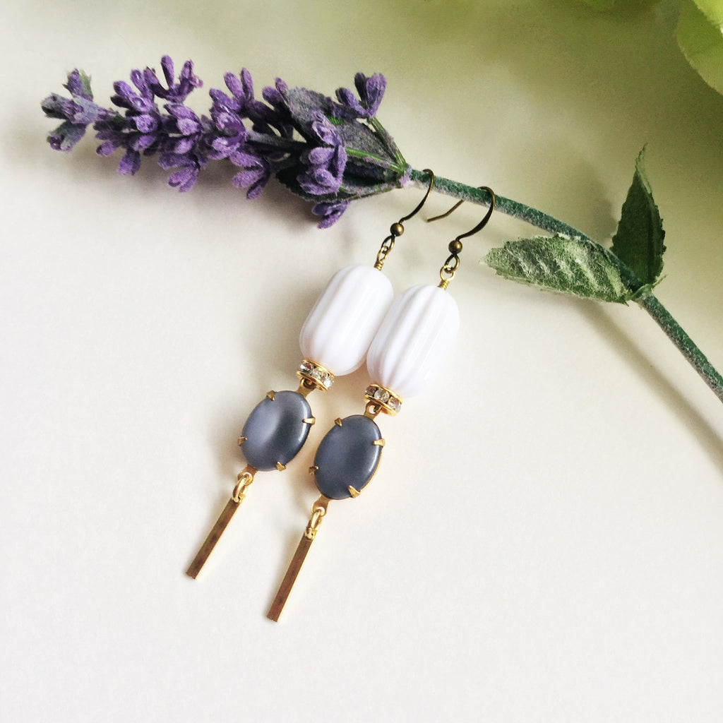 Anika Drops: Dusty Blue Set Glass Stones & Crystal