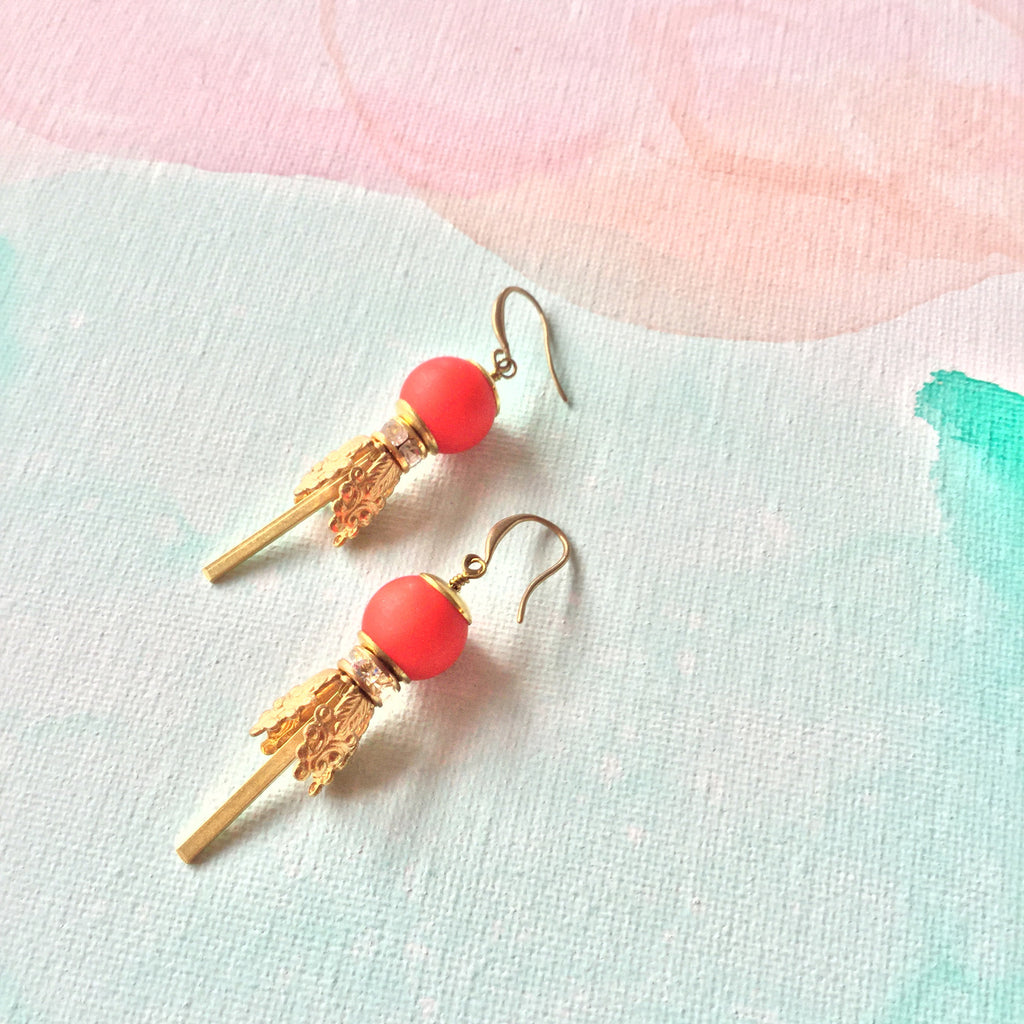 Lilian Drops: Bright Red Lucite