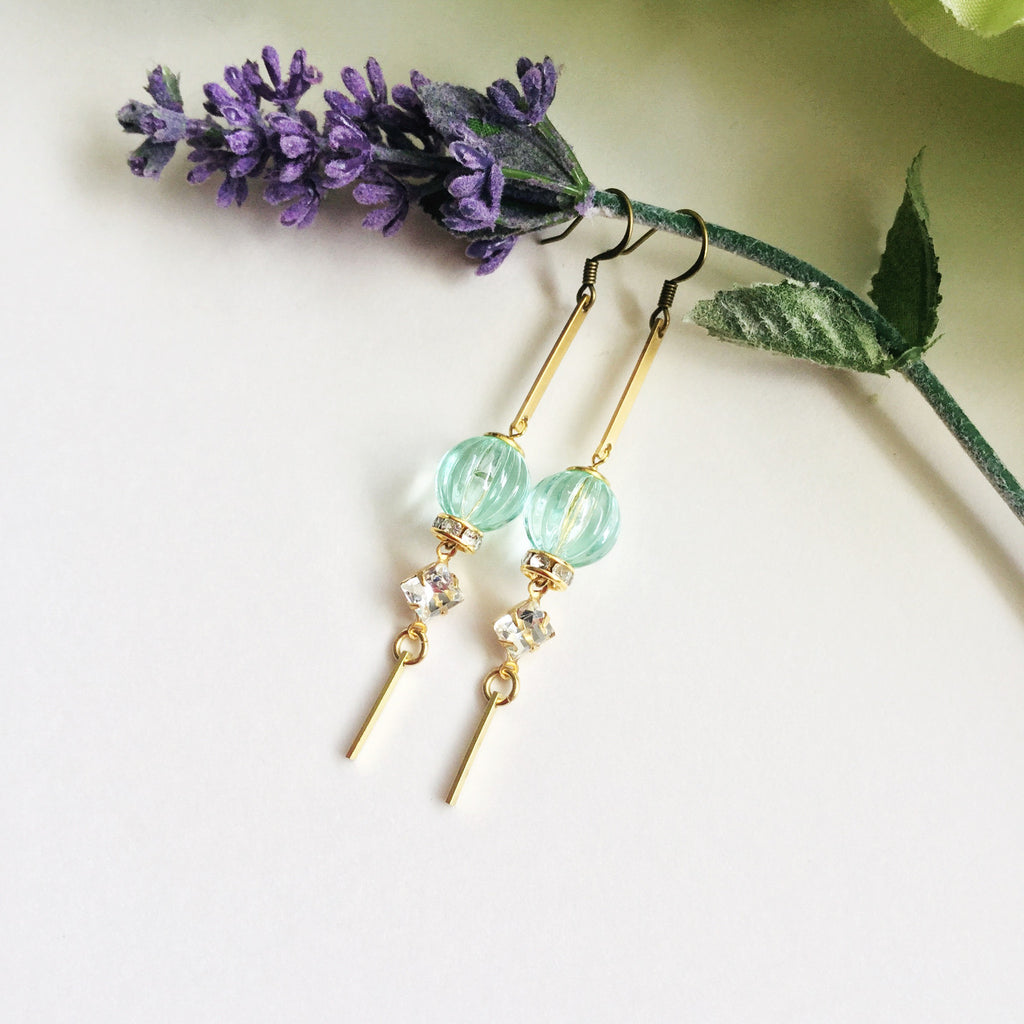 Mia Drops: Pale Green and Clear Crystal