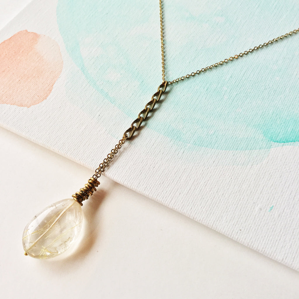 Long Mixed Metal Necklace: Quartz Rutile