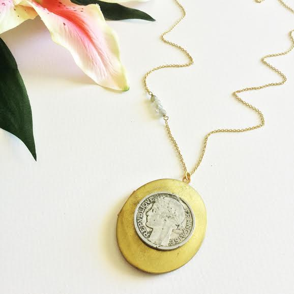 Collette Coin Locket: Vintage Locket + Vintage Coin