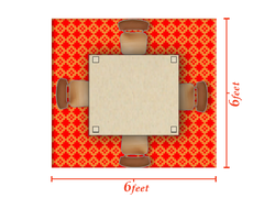6 x 6 square rug example room layout