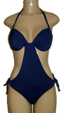 Push up monokini. Halter neck monokini. Navy monokini