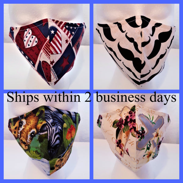Triple layer fabric masks. Masks for adults and kids.
