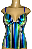 Open back tankinis with underwire push up support