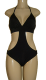 Mirasol Swimwear rib band monokini with triangle top. Black monokini with wide elastic at hips