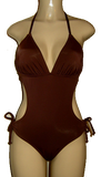 Monokini with tie neck and back and hips. Brown monokini.