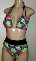 Double string halter top and hi waisted banded bikini bottom