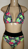 Double string bikini top and high waist banded bottom
