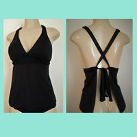 Crossover back tankinis. Open back halter tankini top