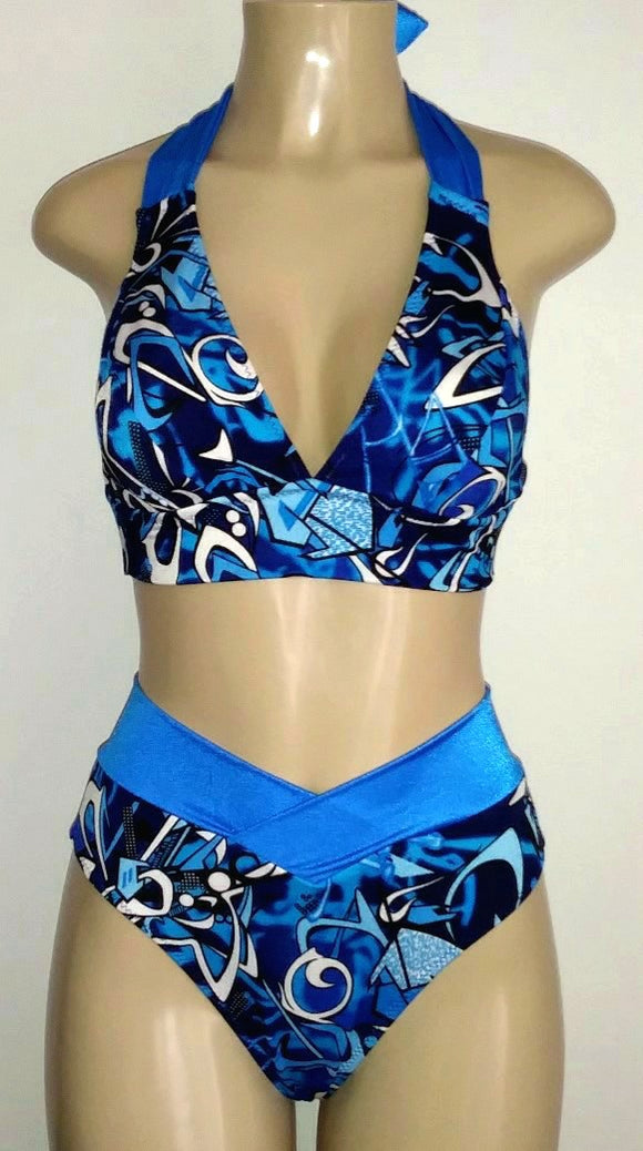 Tie neck and back halter top and high waisted bikini bottom