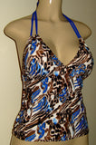 Tankini with double string neck tie