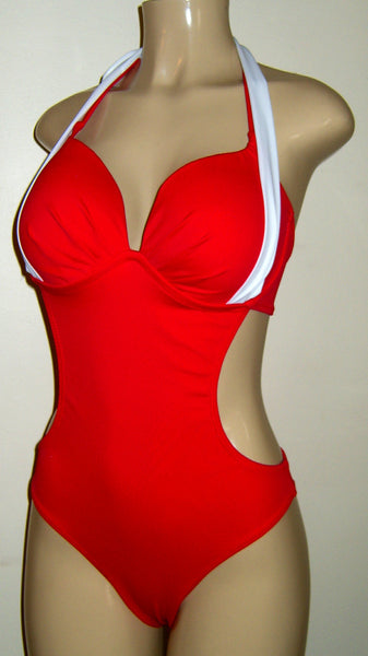 Double halter underwire monokini swimsuit. Underwire push up swimsuits