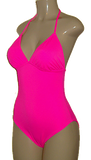 One piece with triangle top. Pink one piece swimsuit.