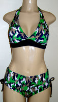 Seamed Halter Bikini Top and Bombshell Adjustable Side Bottom